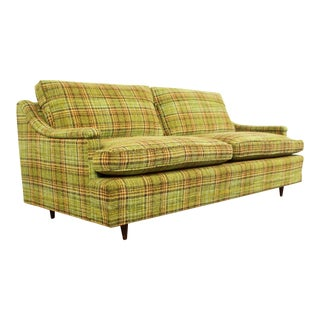 Mid Century Modern Cabin Chic Green Plaid Sofa / Loveseats - Available For Sale