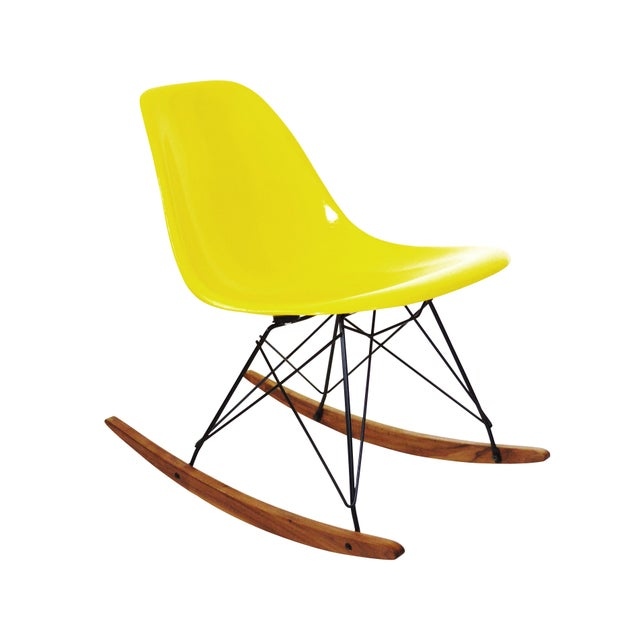 Herman Miller Yellow Fiberglass Rocking Chair For Sale