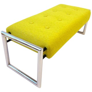 1960s Citrus Yellow Upholstered Chrome Bench For Sale