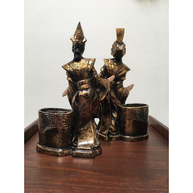 1950s Gilner Asian Antique Black and Gold Figurine Planters - a Pair For Sale - Image 5 of 10