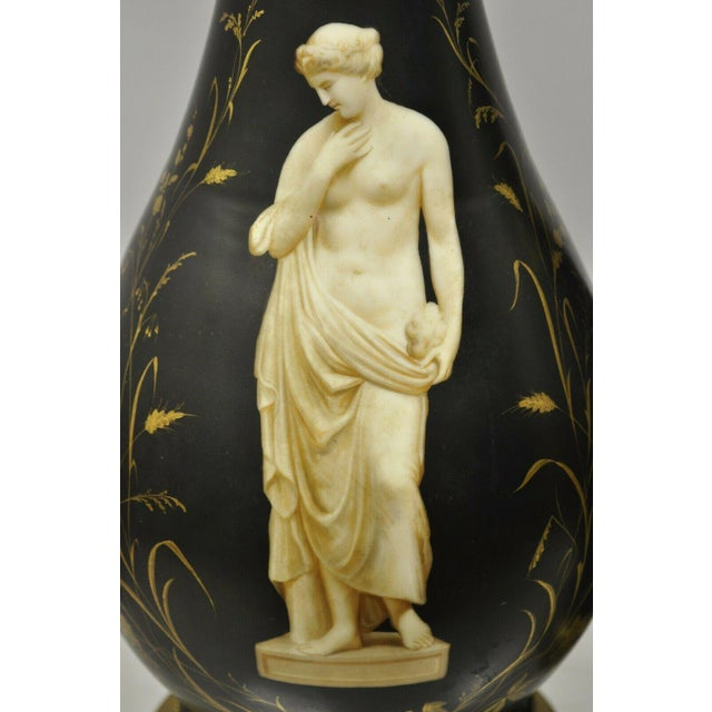 Antique French Neoclassical Black Porcelain Classical Bulbous Table Lamps - Pair For Sale - Image 4 of 13