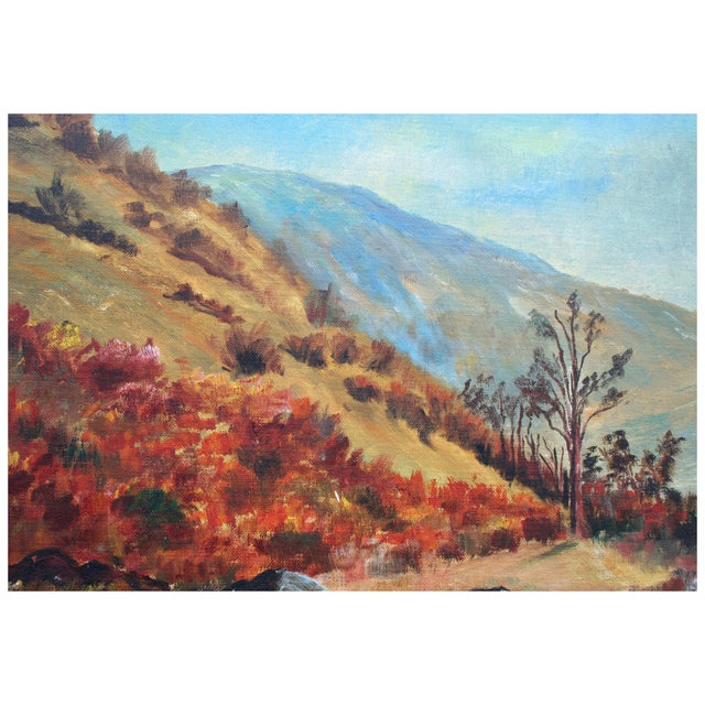 """A vibrant vintage painting of the California Hilltops by E. Hauser. The piece is signed """"E. Hauser"""" in the lower right. It..."""