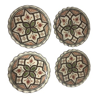 Moroccan Brown Hand Painted Plates - Set of 4 For Sale