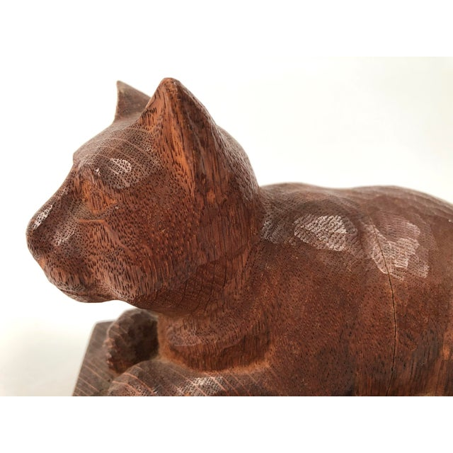 Folk Art Hand Carved Wood Cat Sculpture For Sale - Image 10 of 12