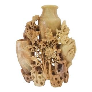 Vintage 1950s Hetian Jade Chinese Hongshan Culture Hand Carved Incense Burner For Sale