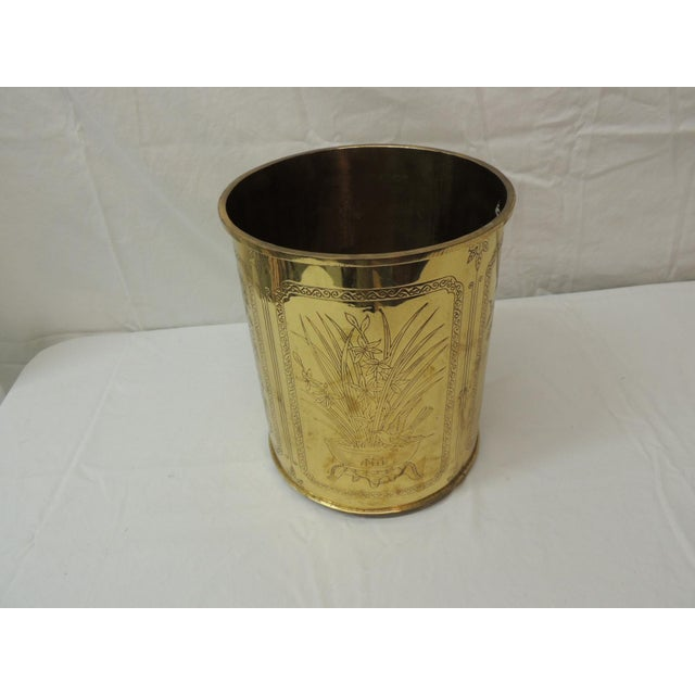 "Vintage polished brass Asian wastebasket depicting birds flowers and bamboo Size 9.5 x 9.5 x 11"" H."
