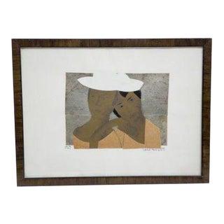 Art Deco Antique Framed 1927 Marie Vassilieff Collage Drawing on Paper Signed Original For Sale