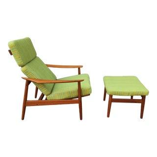 1960s Vintage Arne Vodder 3 Position Teak Lounge Chair For Sale