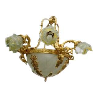 French Louis XVI Style Gilt Bronze 8 Flying Cherub Frame Chandelier For Sale