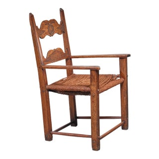 Danish Carved Oak Armchair, Dated 1808 For Sale