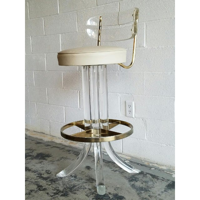 Vintage Lucite & Brass Barstools- A Pair - Image 5 of 6