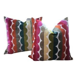 """21"""" Plush Down Filled Pillows in Jonathan Adler for Kravet Semicircle Velvet Fabric - a Pair For Sale"""