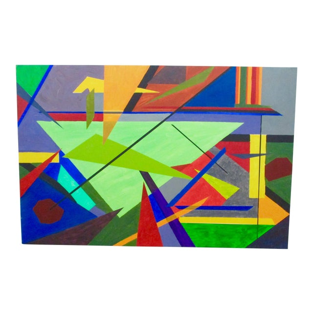 Abstract Hard Edge Acrylic Painting on Canvas For Sale