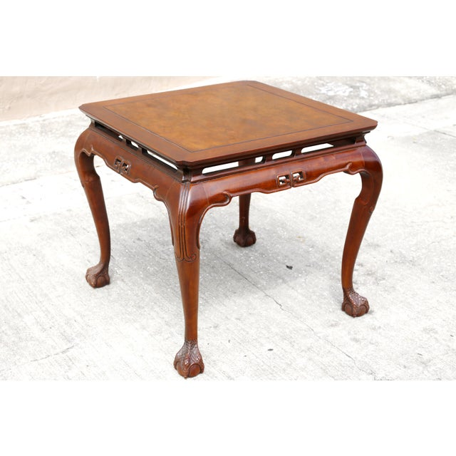 """Vintage Drexel Heritage """"Ming Treasure"""" Square Clawfoot Side Table For Sale - Image 10 of 10"""