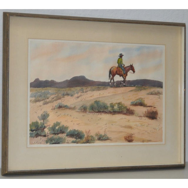 "John B. Munroe ""Desert Tranquility"" Watercolor c.1960s Fine watercolor by noted California / Nebraska artist John B...."