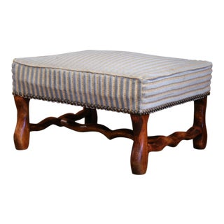 Early 20th Century French Louis XIII Carved Mutton Bone Stool With Stripe Velvet For Sale