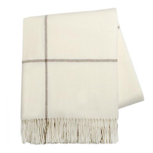 Ecru/taupe windowpane cashmere throw