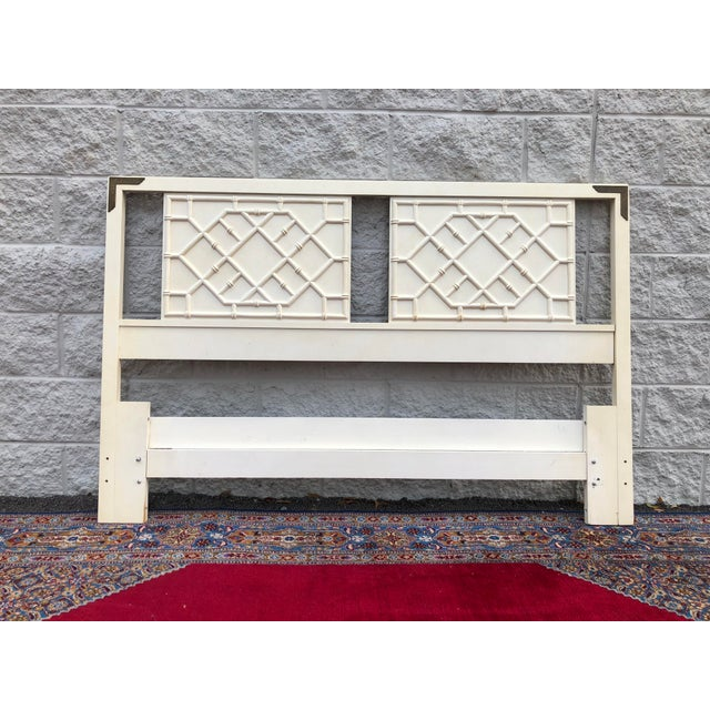 Thomasville Vintage Hollywood Regency Faux Bamboo Thomasville Huntley Full / Queen Headboard For Sale - Image 4 of 4