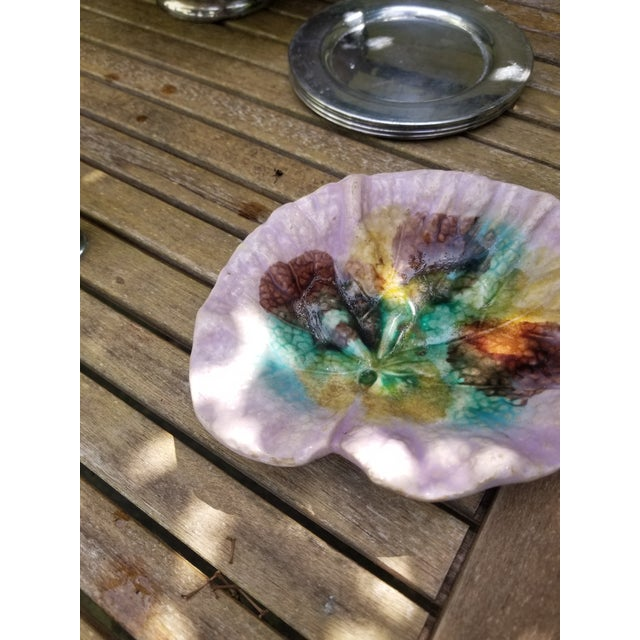 19th Century French Purple Majolica Leaf Dish For Sale - Image 9 of 10