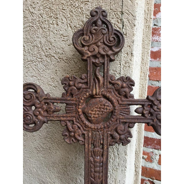 French Antique French Cast Iron Cross Crucifix Chapel Garden Architectural Cemetery For Sale - Image 3 of 7