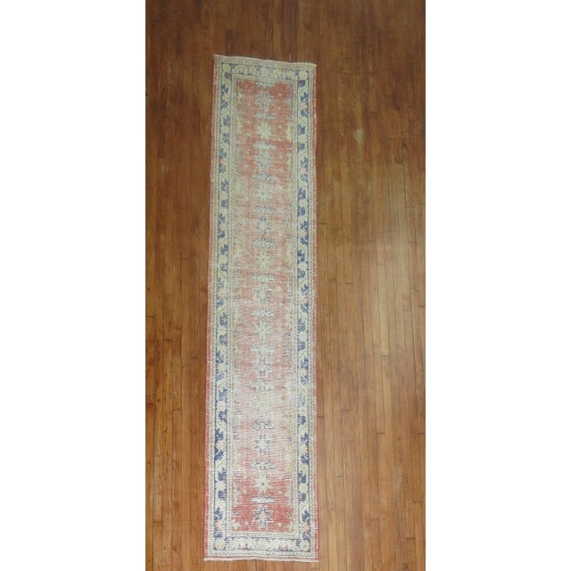 Distressed Turkish Oushak Runner Rug - 2'5'' x 10'9'' - Image 2 of 8