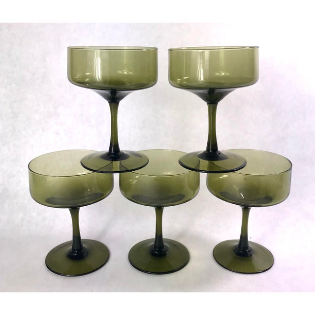 Glass Vintage Smoke Green Coupe Champagne Glasses - Set of 5 For Sale - Image 7 of 7