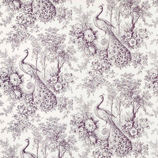 Suzanne Tucker Home Peacock Toile Print Fabric in Mulberry