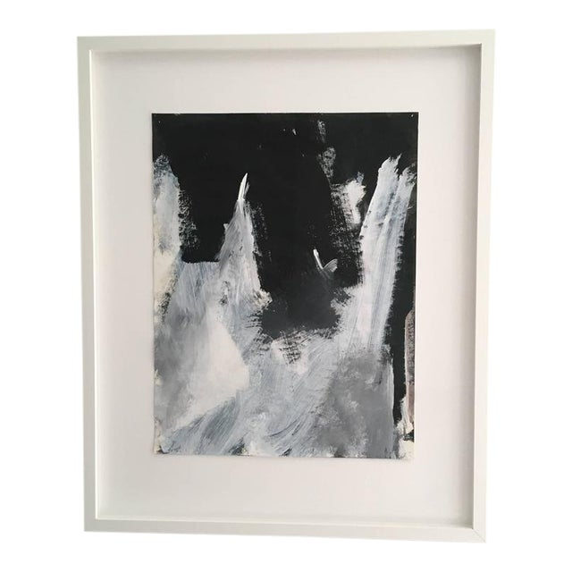 Stephanie Cate Abstract Europa 2 Study Black and White Painting on Paper, Framed For Sale