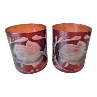 Arte'l Jungle Baroque Double Old Fashion Glasses - a Pair For Sale