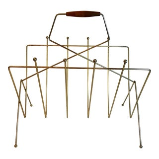 Vintage Mid-Century Space Age Brass and Teak Handled Magazine Rack For Sale