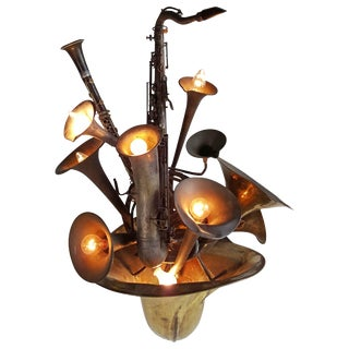 Large Wind Instrument French Horn Saxophone Brass Wall Sconce For Sale