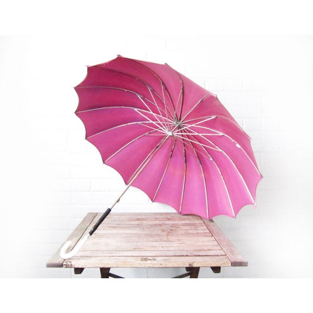 Vintage Purple 1950s Umbrella With Lucite Handle - Image 2 of 6