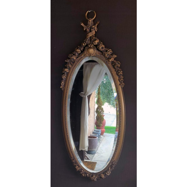 19th C. Renaissance Revival Gesso & Carved Giltwood Oval Beveled Wall Mirrors - a Pair For Sale - Image 10 of 13