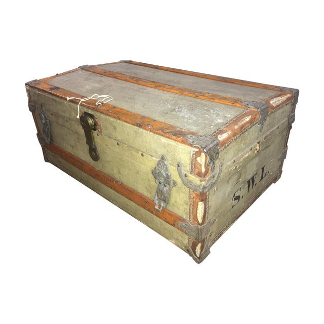 Crouch & Fitzgerald Antique Flat Top Trunk For Sale