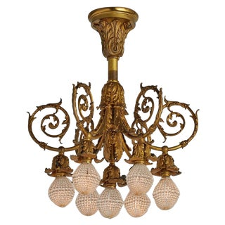 Stunning Gilt Rococo Early Electric 7-light Chandelier Circa 1903