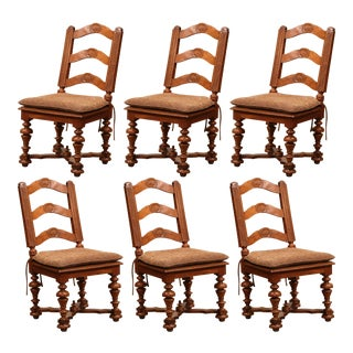 Set of Six 19th Century French Louis XIII Carved Walnut Ladder Back Chairs For Sale