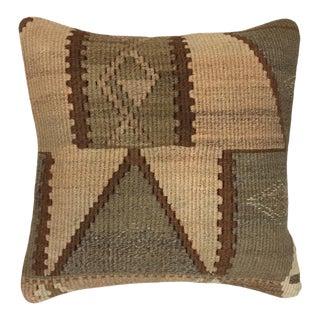 "Subdued Neutral Vintage Kilim Pillow | 18"" For Sale"