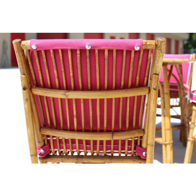 Fabric Vintage Ficks Reed Rattan Dining Table With 4 Chairs - Set of 5 For Sale - Image 7 of 9