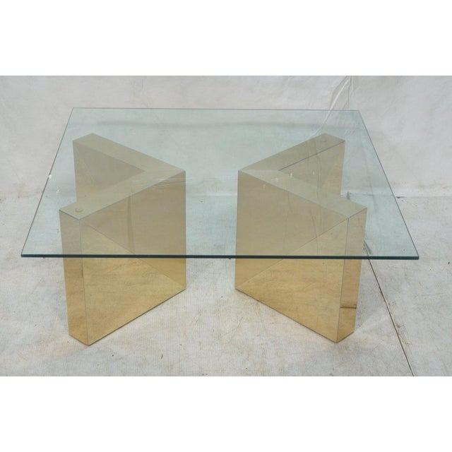 Square Gold V Base Cocktail or Coffee Table, Circa 1970 - Image 3 of 7