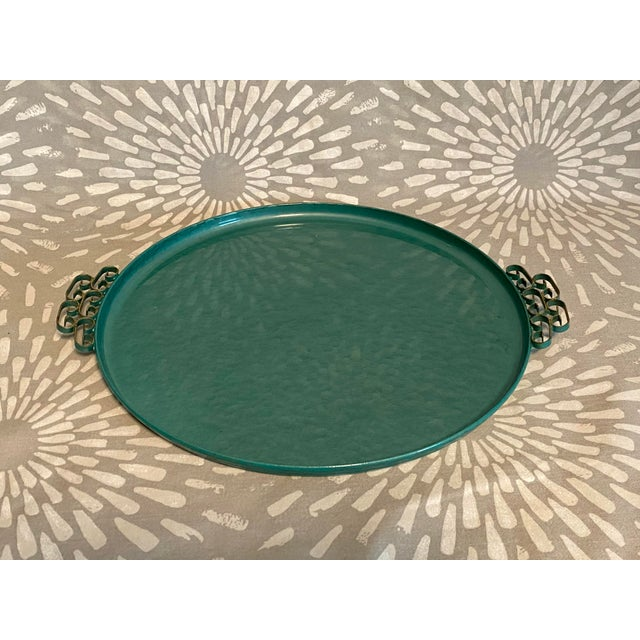 Mid-Century Modern 1950s Moiré Glaze Kyes Green California Handmade Tray For Sale - Image 3 of 7