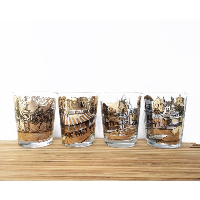 Mid Century Bar Glasses - Set of 4 Black and Gold French Drinking Glasses For Sale In Orlando - Image 6 of 6