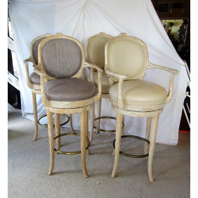Faux Bois & Leather Upholstered Swivel Bar Stools - Set of 4 - Image 2 of 6