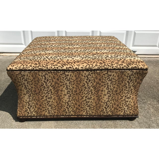 1980s Antique Style Designer Ottoman Leopard Print Upholstery Footstool For Sale - Image 5 of 9