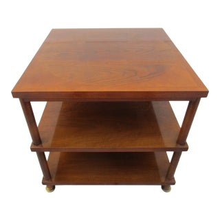 Baker Furniture Three Tier Side Table -Unique Circular Inlay Top For Sale