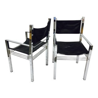 Vintage Mid-Century Modern Chrome & Leather Arm Chairs - a Pair