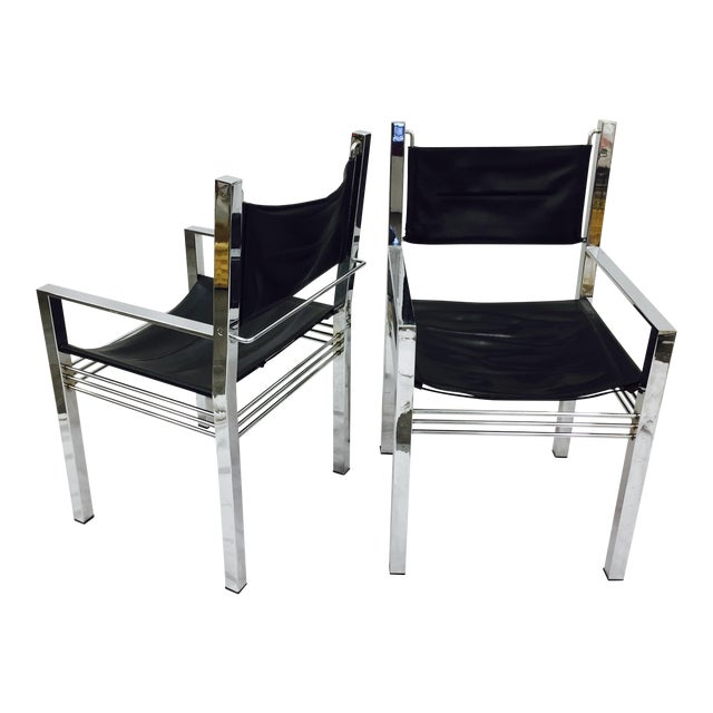 vintage mid century modern chrome leather arm chairs a pair