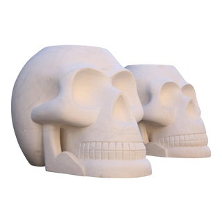 Custom Designer's Solid Carrara Marble Skull Sculptures - a Pair