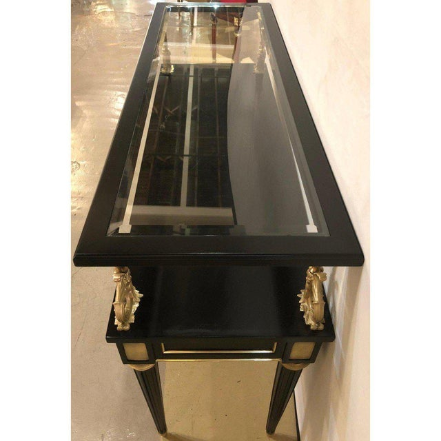 Ebony and Bronze Mounted Hollywood Regency Serving Cart or Étagère Jansen For Sale In New York - Image 6 of 13