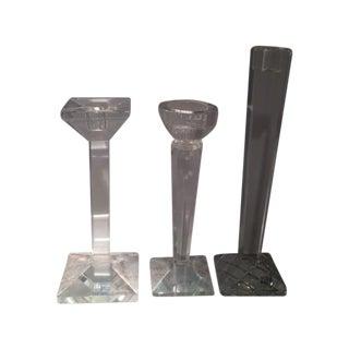 Oleg Cassini Crystal Candle Holders - Set of 3 For Sale