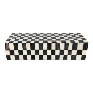 Vintage Checkered Black and White Lidded Bone Box For Sale